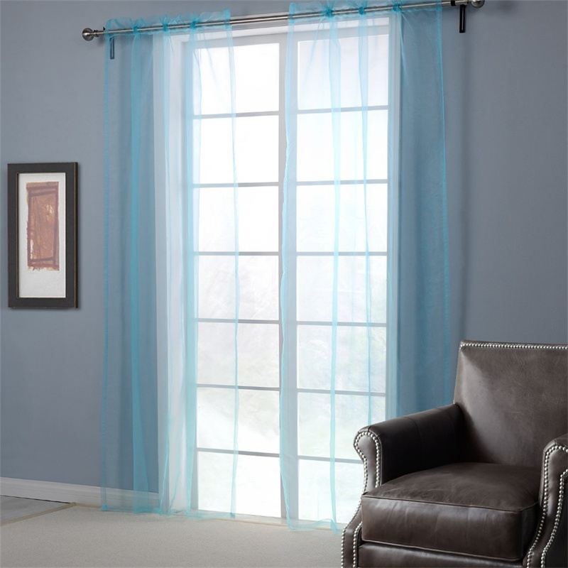 BBJ light blue Glass Yarn Curtains for Living Room Solid Window Screening Europe Style curtains