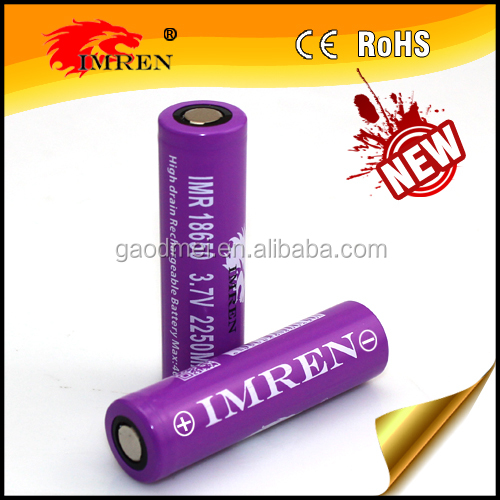 Hot selling! IMREN ego battery 18650 3.7v 2250mah 40amps with lowest price