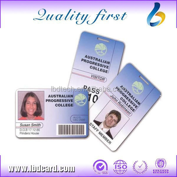 Free sample! I CODE 2 Chip Plastic Employee Photo ID Cards
