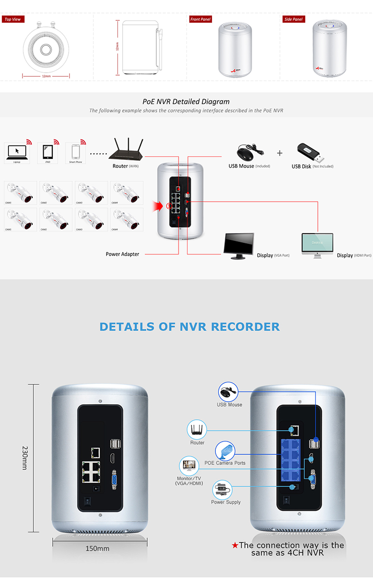 Manufacturer Price Home H.265 security 8ch cctv cylindrical nvr 5mp  HD Infrared IP camera video surveillance system with 2T HDD