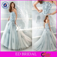CE143 Fitted Strapless Puffy A-Line Appliqued Lace-up Royal Blue And White Wedding Dresses