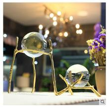 Modern fashion home decoration clear crystal ball metal crafts for wholesale