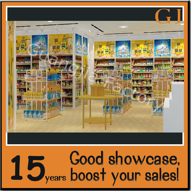 new modern gondola boutique display racks miniso retail shelving unit with wire mesh aisle end cap basket