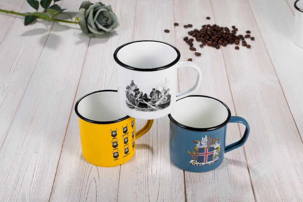 high quality enamel metal mug custom enamel camping mug