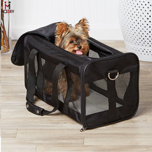 Black Duffle Pet Carrier Foldable Medium Sized Dog Carrier FAA Approved