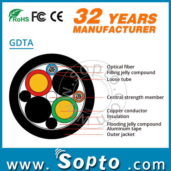 GDTA Opto Electric Composite Fiber Optic Cable for Remote DC Power Supply System