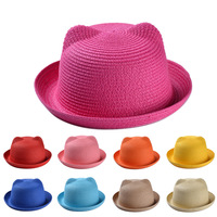 Cute cats ear style girls straw fedora hat