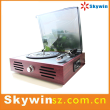 Hot Sale Briefcase Wooden USB SD Bluetooth Vinyl Turntable Record Player with USB Line for Computer Recording