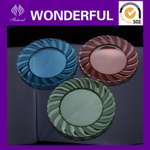 Disposable round plastic food serving tray