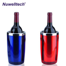 Efficient Wine Cooler Stainless Steel Ice Bucket Blue Plastic Ice Bucket