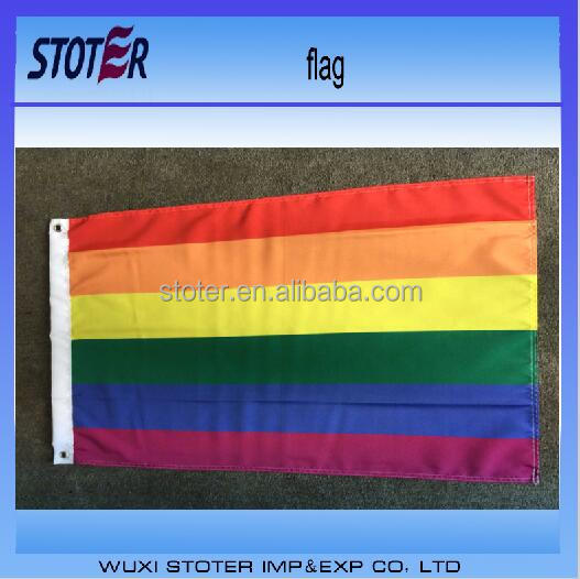 cheap custom medium gay rainbow flag with grommets
