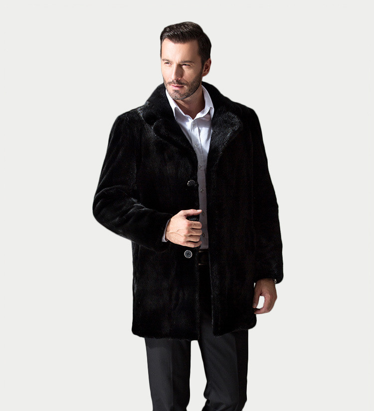 New Products from AKleather Luxury Winer Keep Warm Black Mink Fur Coat for Men
