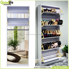 free standing mirror with wooden shoe rack