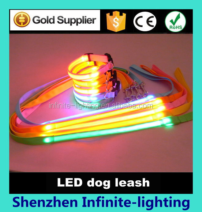 factory supply high quality best led dog collar and leash/leash light up led pet collar