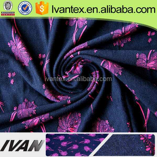 2015 Fashion Design Siro Compact Knitted Rayon Print Fabric