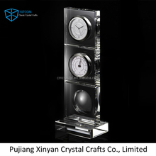 2016 crystal table clock souvenirs clock gifts clock with thermometer
