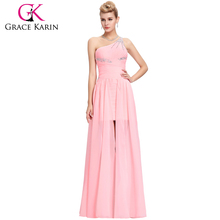 Grace Karin Short Front Long Back Chiffon One Shoulder Pink Prom Dress CL3828
