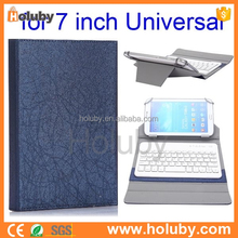 Best selling 2 in 1 Universal Line Texture Detachable Bluetooth Keyboard Flip PU Leather Case for 7 inch Tablet PC