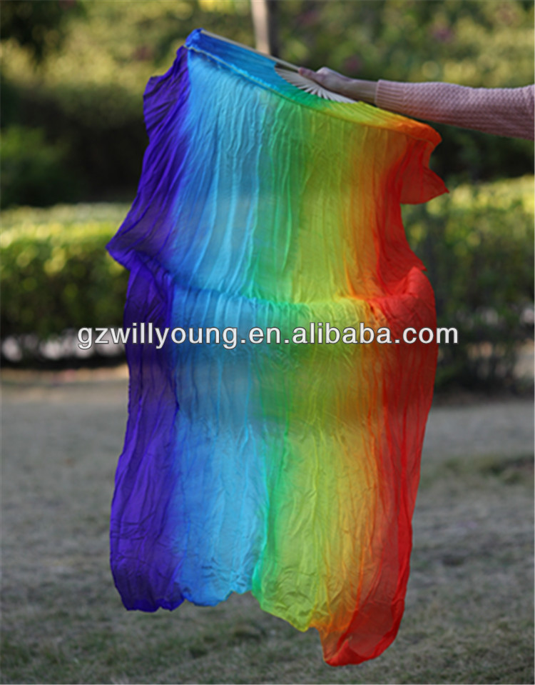 Horizontal RAINBOW Color,7Colors, Belly Dance 100% Real Silk Fan Veils, 1.8M