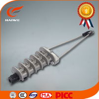 Wedge type connector strain guy wire clamp