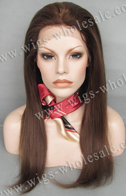 Long Brown Mix Blonde Color Yaki Straight 100% Indian Remy Human Hair Lace Front Wigs