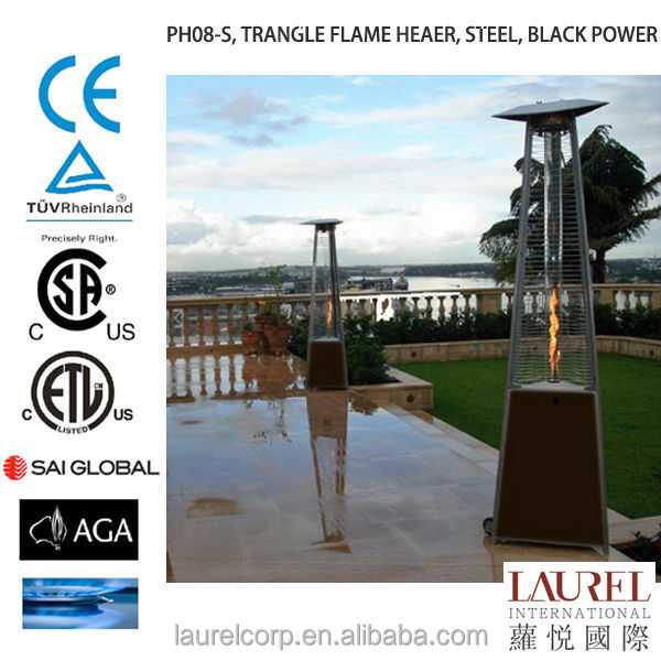 Triangle design flame outdoor glass tube natural Gas Patio Heater