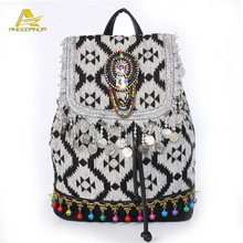 Exclusive Designs Ethnic Boho Backpack Linen Bags Wholesale Vintage Style Women's Bohemian Bag