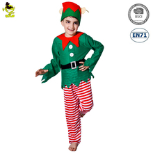 Smart Green Elf Costumes Little Boys Christmas Carnival Party Forest Fairy Fancy Dress for Children