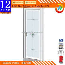 White Flower Elegant Bathroom Louver/Casement Door High Quality Ground Glass Aluminum Door Best Price Windproof Kitchen Door