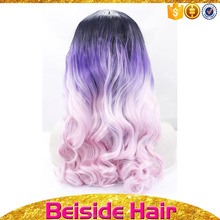 Cheap long curl women wigs with baby hair grey pink cosplay synthetic wig