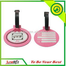 Fashion round shape pink PVC luggage tags for travel