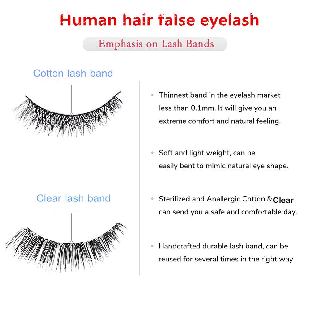 High quality crossing double layered 100% handmade 3d silk strip eyelash with custom eyelash package