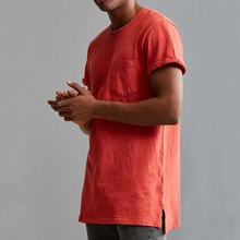 Wholesale custom plain red color men oversized t-shirt with step hem