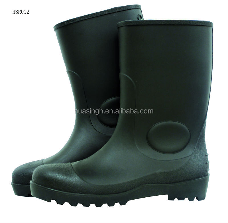 black/yellow/green color steel toe protective cheap PVC safety rain boots