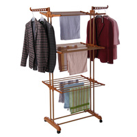 RT-300W2 Good quality 3 tiers elegant metal bedroom standing indoor clothes hanging rack with shoes rack
