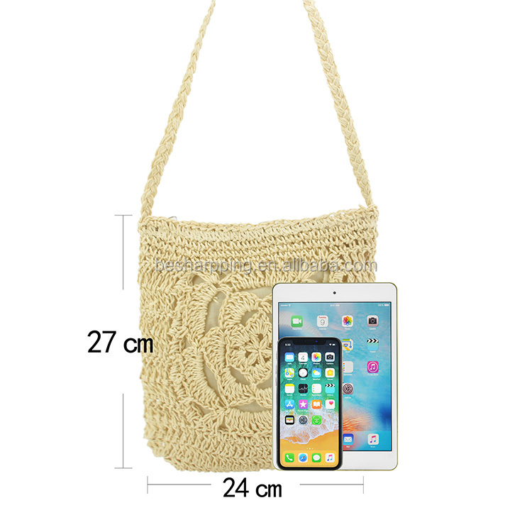 Handmade Shoulder Handbag Crossbody Straw Woven Ladies Purse with Single Shoulder Strap