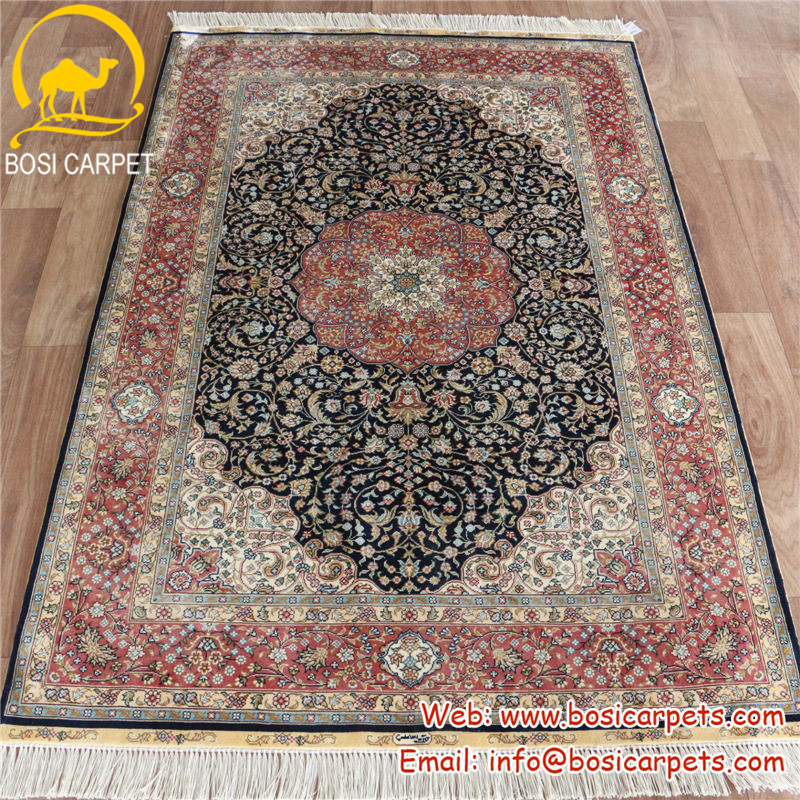 3.3x5ft Navy blue red border living room decorated in a modern silk carpets Chinese Suppliers