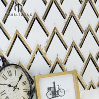 Chinese stone supplier ZAG NERO brass waterjet mosaic marble tiles