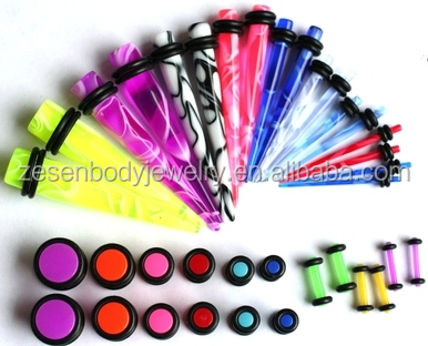 00G-14G Color Marble Tapers Neon Ear Plugs Gauges Ear Stretching Kit Body Piercing Jewelry