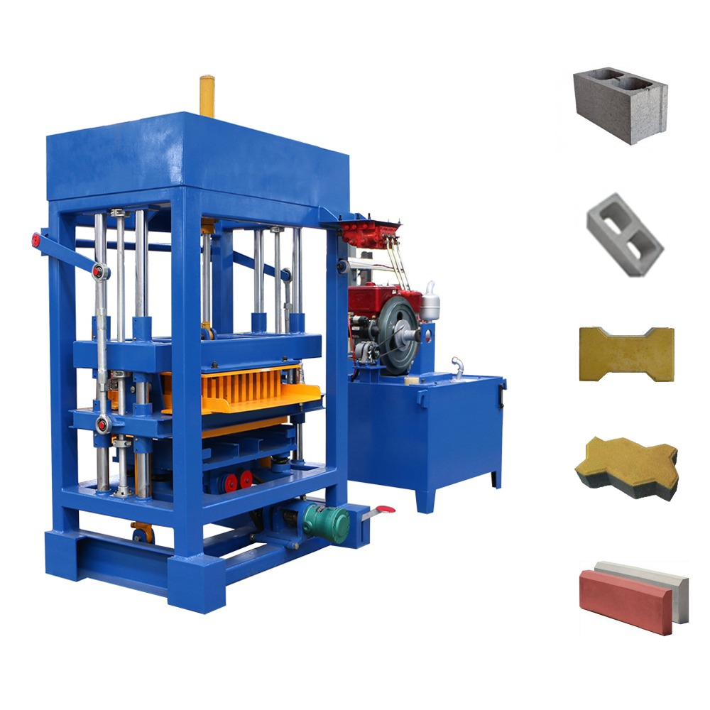QT4-30 simple concrete block making machine, no need <strong>electricity</strong> power saving block machine for village use