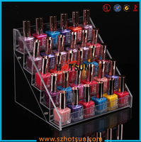 Professional design 5 tiers acrylic nail polish display stand / detachable clear nail polish display stand