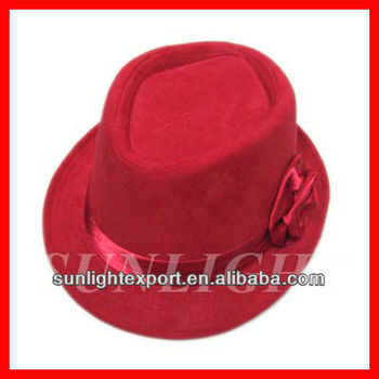 Fashion red fedora hat with red ribbon band for women