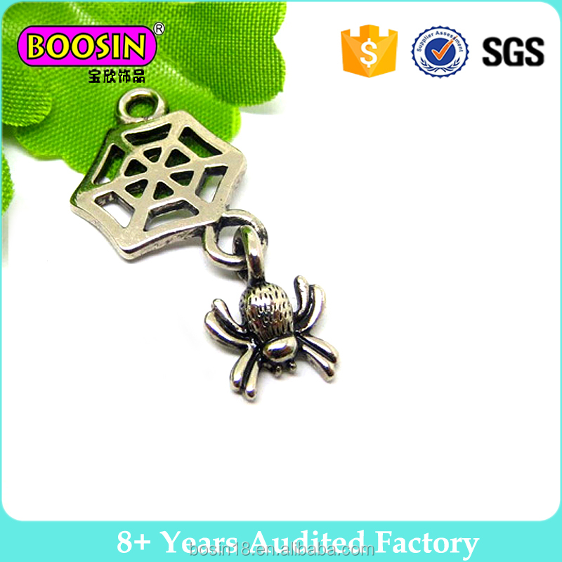 Best selling vintage antique spider pendant jewelry small metal alloy charm for men #14237