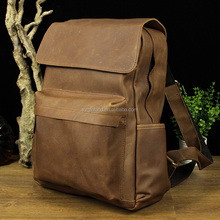 Top Quality Vintage Brown School Laptop Backpack Genuine Leather for Male