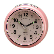 Pinky color Quiet round face analog Alarm clocks