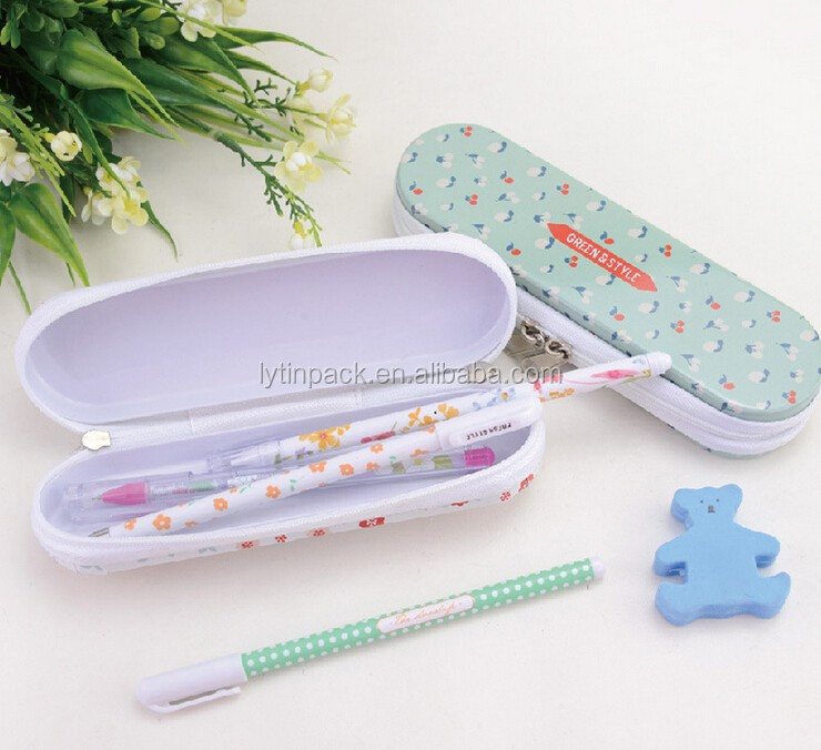 customized metal tin pencil box with zipper