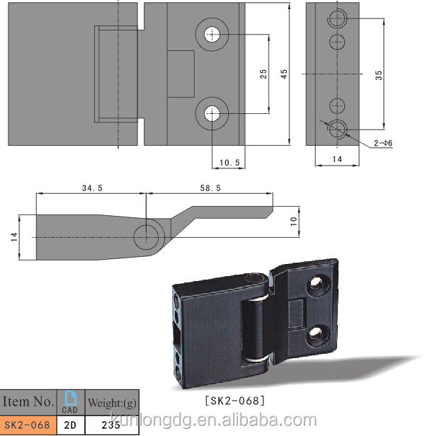 SK2-068 China Wholesale Industrial Hinge ZDC Black Hinges