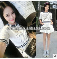 C61885A 2014 summer new Korean women wear T-shirt + skirt lady suit
