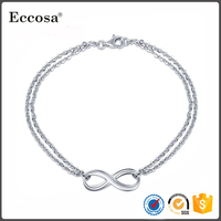 2017 Wholesale Fashion Jewelry Chain Link Women Infinity 925 Sterling Silver Bracelet