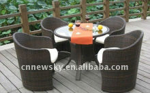 Utility Outdoor Patio Wicker Furniture Table And Four Seats Dining Set